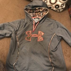Under armour grey and camouflage hoodie